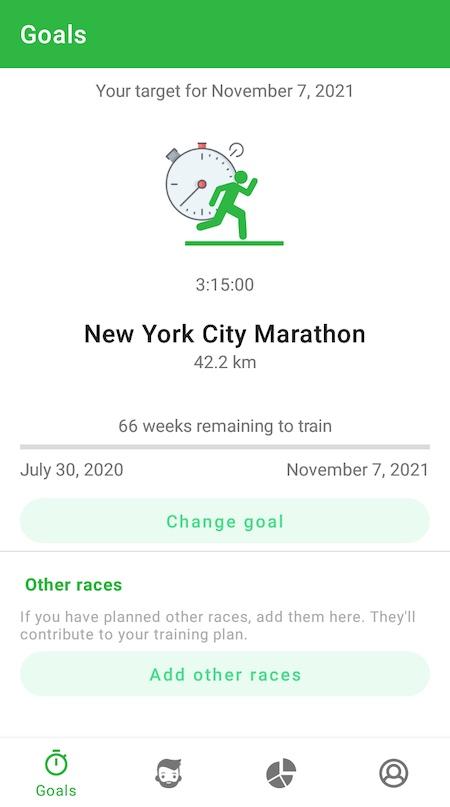 Application running RunMotion Coach